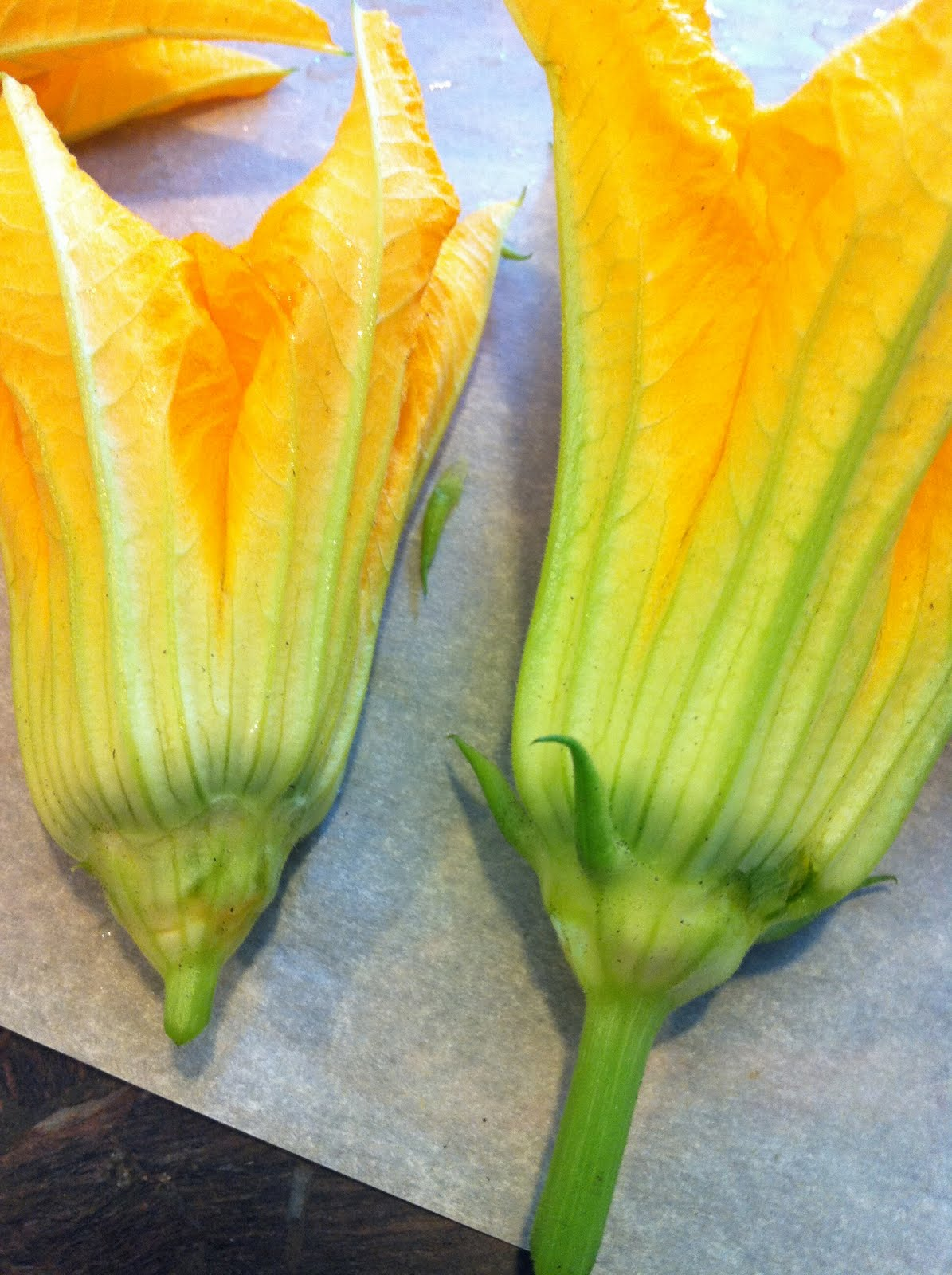 Stuff Zucchini Flowers With An Anchovy Filet And A Strip Of Mozzarella