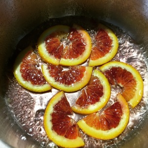 Blood oranges candied simmer