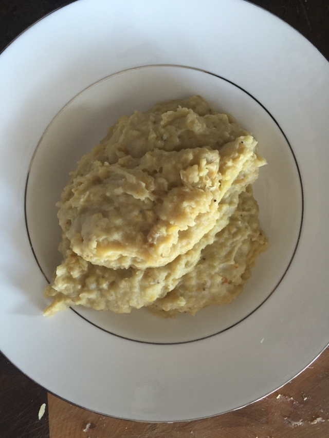 Plantain mashed white plate
