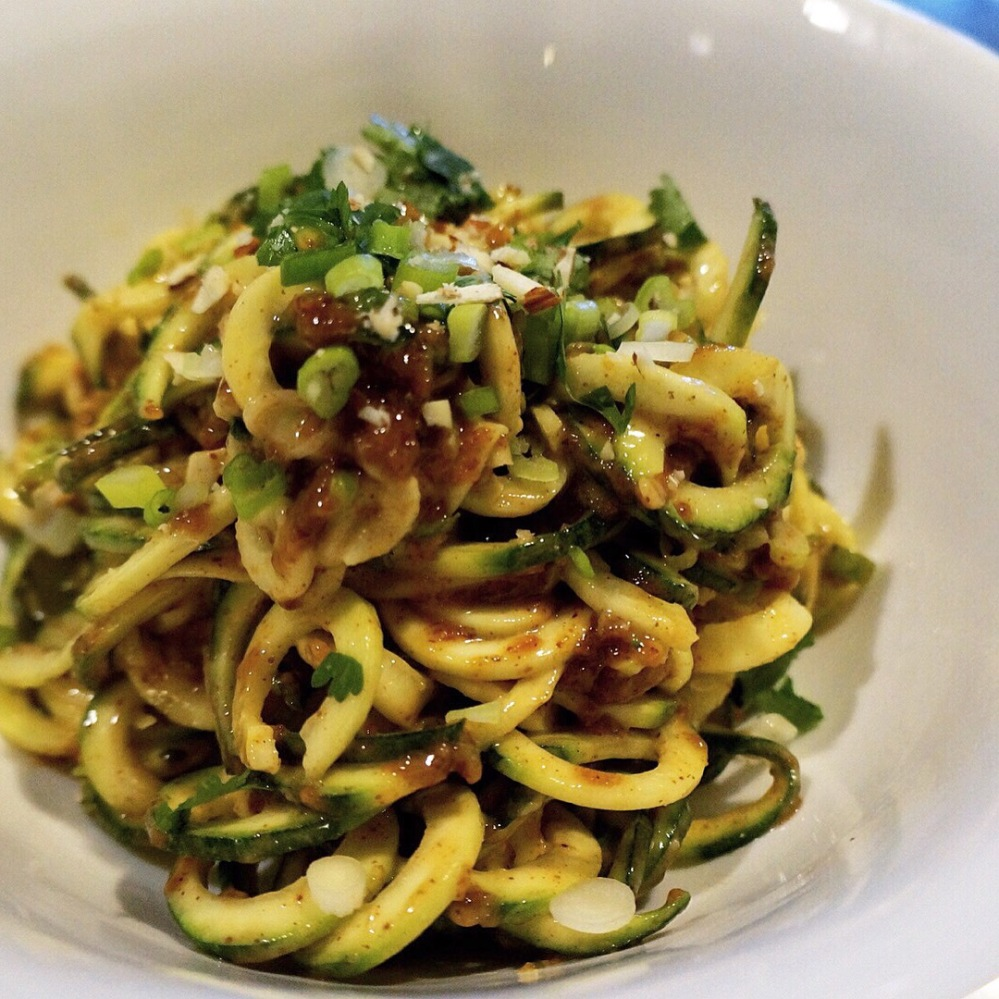Zoodles with Almond BUtter Sauce Light