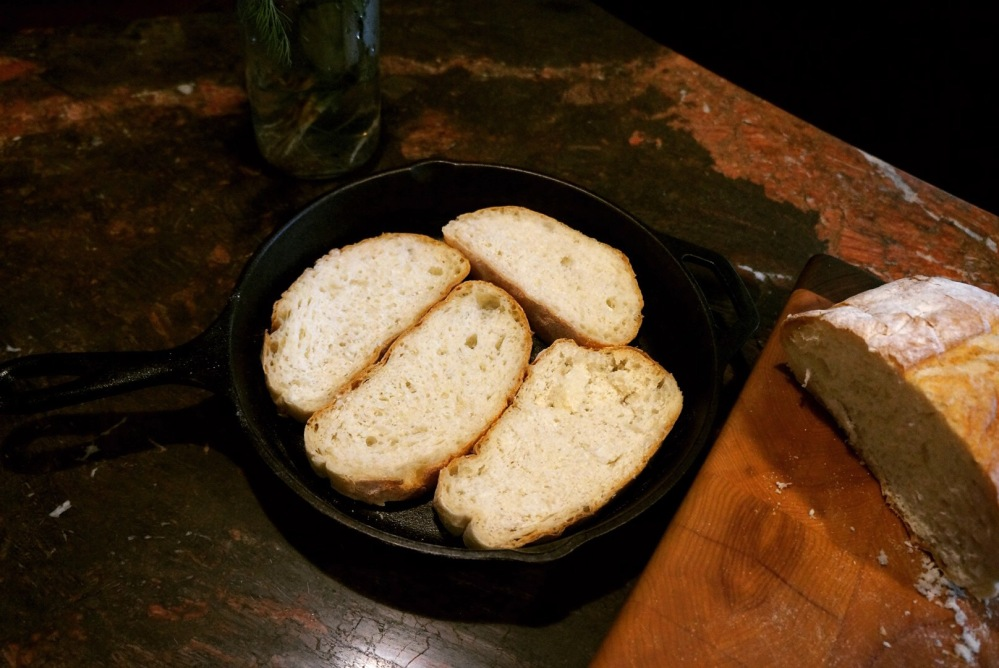 Bread placed in skillet