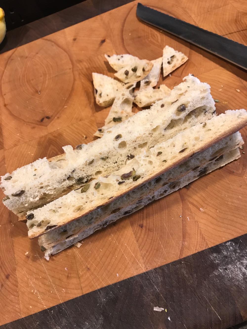Green olive baguette